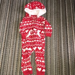 Red and white fleece hoodie onesie